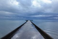 风景在雨以后的摄影海 库存图片