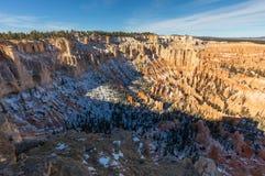 风景坚固性布莱斯峡谷国家公园犹他的冬天 免版税库存照片