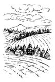 风景墨水略图 农村被刻记的风景 免版税库存图片