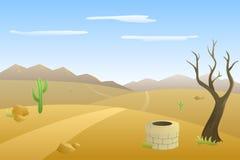 风景小山沙漠天路山例证 库存图片