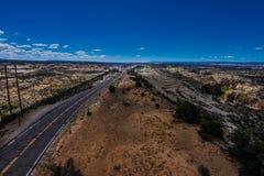 风景小路犹他路线12Escalante向巨石城豚脊丘 免版税库存照片