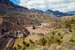 风景山和湖在大加那利岛,西班牙环境美化 图库摄影