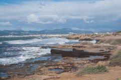 风景帕尔马海湾在2月 库存照片