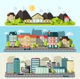 风景平城市的横幅 图库摄影