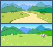 风景平的样式的土地 春天和夏令时 向量例证