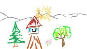 风景幼稚图画旅行横幅 股票录像