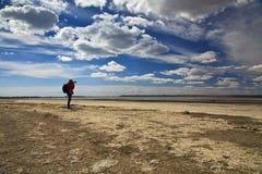 风景摄影师在海滩做海射击 免版税库存图片