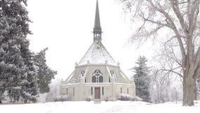 风景教堂在冬天 股票视频