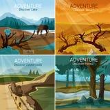 风景旅行4平的象正方形 库存照片