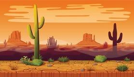 风景无缝的背景与沙漠和仙人掌的 向量例证