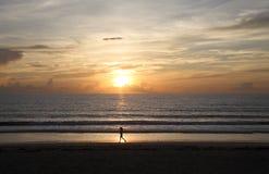 风景日出的慢跑者 库存图片