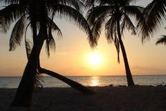 风景日落加勒比 免版税图库摄影