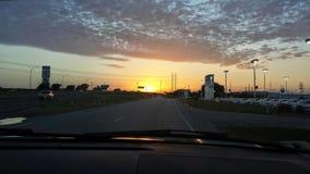 风景日落在休斯敦 免版税库存照片