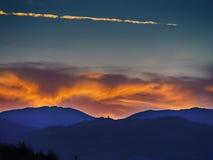 风景日落在托斯卡纳 免版税库存图片