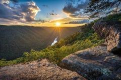 风景日落,西维吉尼亚,新的河峡谷 免版税图库摄影