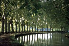 风景法国,米迪运河 免版税库存照片