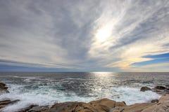 风景海岸线在佩吉的小海湾,新斯科舍 库存照片