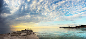 风景海sunrice金黄天空 库存图片
