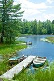 风景湖边在北部森林,美国 库存图片