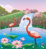 风景的例证与两群火鸟和瀑布的 免版税库存图片