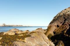 风景的海滩,长岛海湾 免版税库存照片