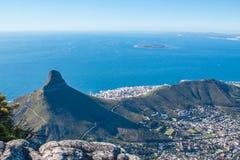 风景看法在开普敦,桌山,南非 免版税库存照片