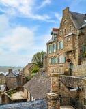 风景看法在Mont圣米歇尔,诺曼底,法国 图库摄影