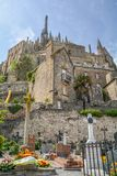 风景看法在Mont圣米歇尔,诺曼底,法国 免版税图库摄影