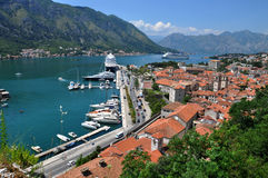 风景科托尔海湾在黑山 库存图片