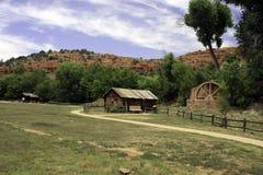 风景老野生西方牛仔的移居者 库存图片