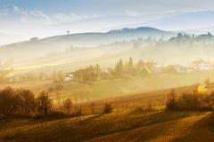 风景自然和小山在日落 图库摄影