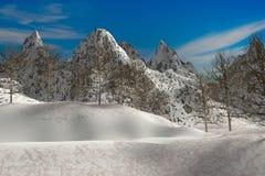 风景自然雪山回报 免版税库存照片