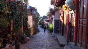 风景街道在老镇丽江,云南,中国 库存照片