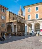 风景视域在乌尔比诺、城市和世界遗产名录站点在意大利的马尔什地区 免版税库存图片