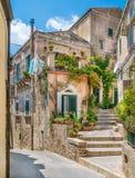 风景视域在莫迪卡,著名巴洛克式的镇在西西里岛,南意大利 图库摄影