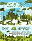 风景设计演播室,从事园艺的服务横幅 向量例证