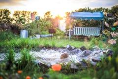 风景设计的池塘与摇摆和草 库存图片