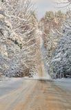 风景路,美妙的冬天风景 免版税库存图片