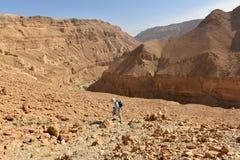 风景远足在犹太沙漠山 图库摄影