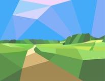 风景领域和树 免版税库存照片