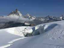 风景马塔角峰顶如被看见从在策马特上的布来特峰冰川 库存照片