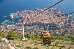 风景鸟瞰图在著名杜布罗夫尼克里维埃拉-空中览绳视图 库存图片