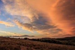 风景,在领域的晴朗的黎明 免版税库存照片