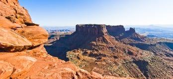 风景从天空的Canyonlands的海岛,默阿布沙漠俯视 免版税库存照片