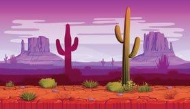 风景水平的无缝的背景与沙漠和仙人掌的 免版税图库摄影