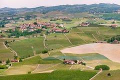 风景Langhe小山葡萄园 在巴罗洛,山麓,意大利,联合国科教文组织遗产附近的葡萄栽培 巴罗洛,Arneis,Nebbiolo, 免版税库存图片