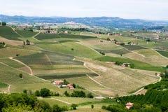 风景Langhe小山葡萄园 在巴罗洛,山麓,意大利,联合国科教文组织遗产附近的葡萄栽培 巴罗洛,Nebbiolo, 免版税库存图片