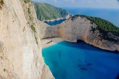 风景Navagio海难海滩 库存照片