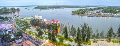 风景Ninh Kieu码头变动随着时间的推移显示 免版税库存图片