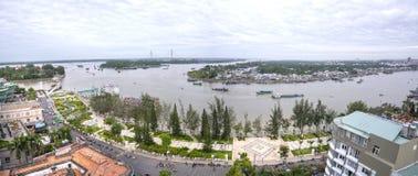 风景Ninh Kieu码头变动随着时间的推移显示 免版税图库摄影